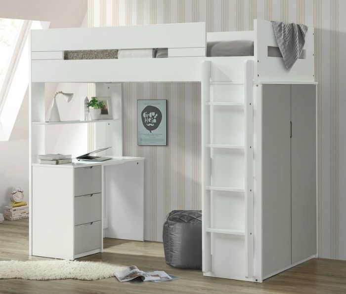 ACME Nerice Loft Bed White Gray 8280ec6a 246b 43f0 9f09 ba3e3bd3c80a 1000 - 15 space-saving bunk and loft bed ideas for children's rooms