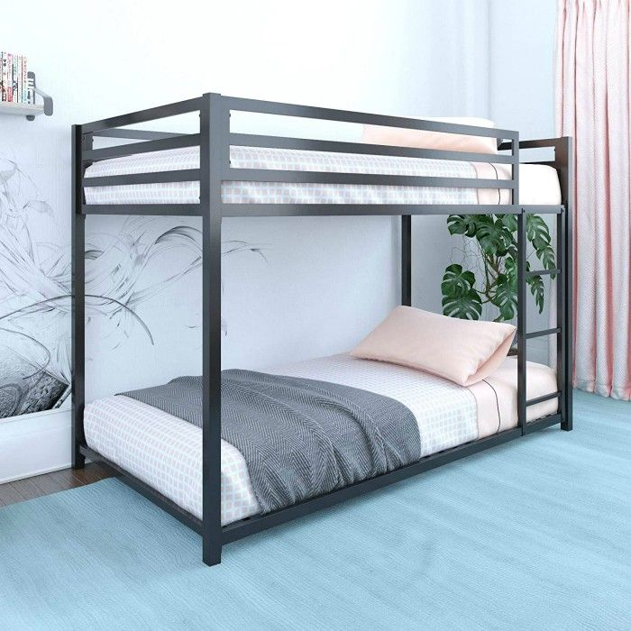 DHP Miles Twin Metal Bunk Bed Kids Bedroom Space Saving Design Black - 15 space-saving bunk and loft bed ideas for children's rooms