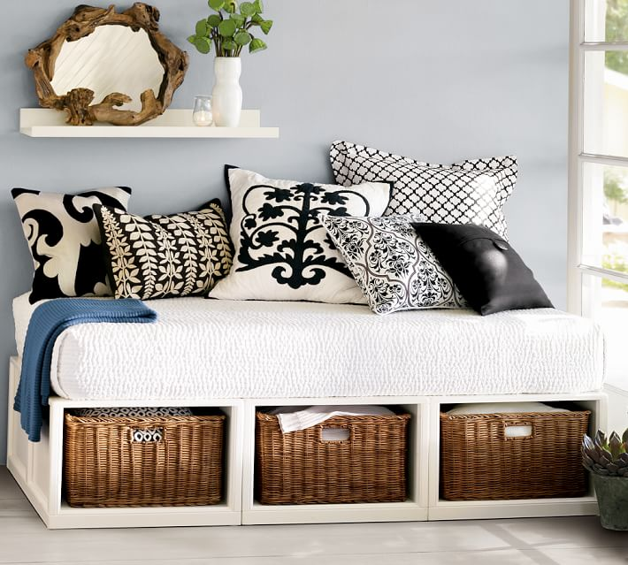 Stratton Storage Platform Daybed with Baskets - 12 daybeds that'll make a sophisticated addition to your home