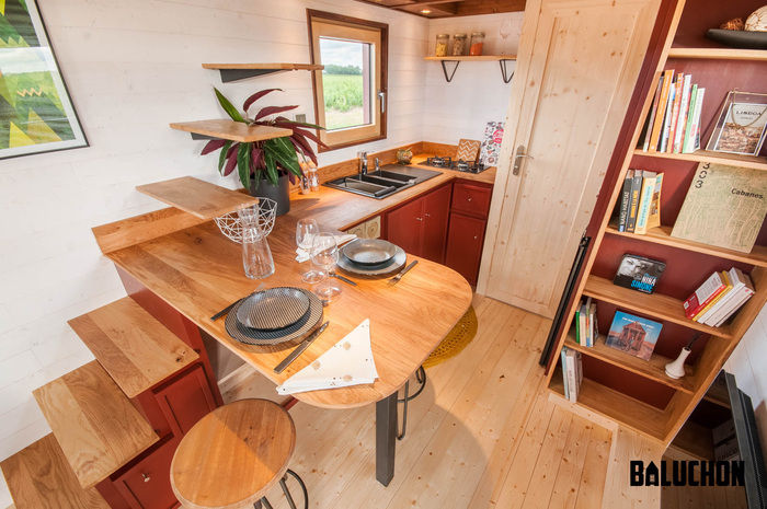 pampille tiny house 8 - The loft bedroom in this tiny house can easily be divided into two rooms