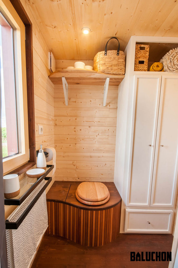 pampille tiny house 9 - The loft bedroom in this tiny house can easily be divided into two rooms