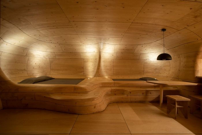 wood cave holiday home 7 - Tenon Architecture creates spectacular wooden cave for Greek resort