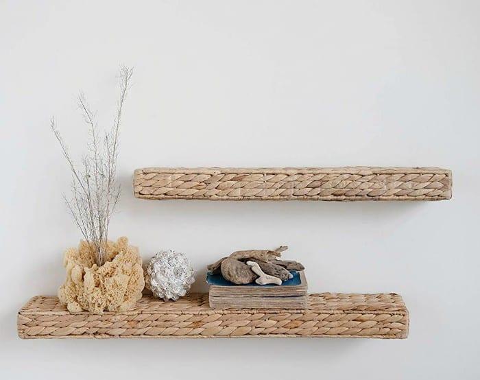 Handwoven Water Hyacinth - 20 brilliant wall shelf ideas that make storage look stylish