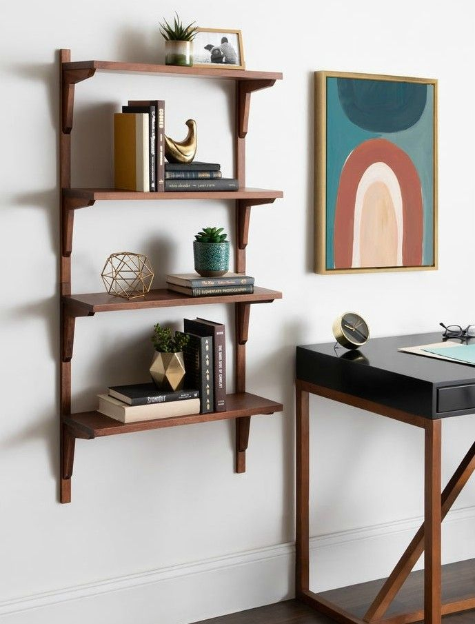 Kate and Laurel Meridien Mid Century Wall Shelves - 20 brilliant wall shelf ideas that make storage look stylish