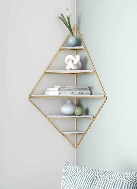 LeroyDecorativeMidCenturyModern5PieceDiamondCornerShelf - 20 brilliant wall shelf ideas that make storage look stylish