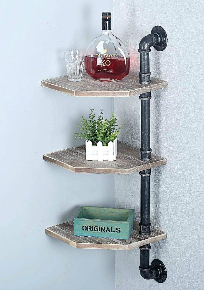 Pipe Corner Shelf - 20 brilliant wall shelf ideas that make storage look stylish