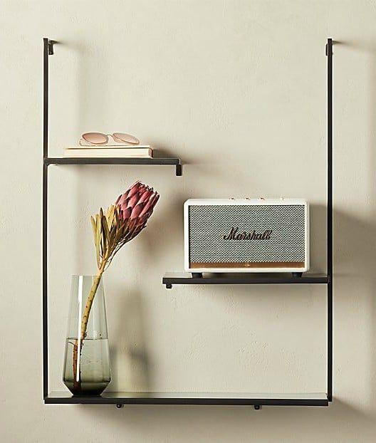 SPIRIT GUNMETAL FLOATING LADDER SHELF - 20 brilliant wall shelf ideas that make storage look stylish