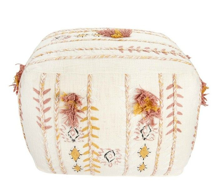 Square-Cream-Cotton-Pouf-with-Misty-Rose-Mustard-Yellow-Embroidery-and-Pom-Poms