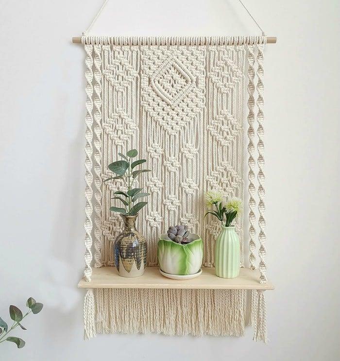 boho macrame shelf - 20 brilliant wall shelf ideas that make storage look stylish