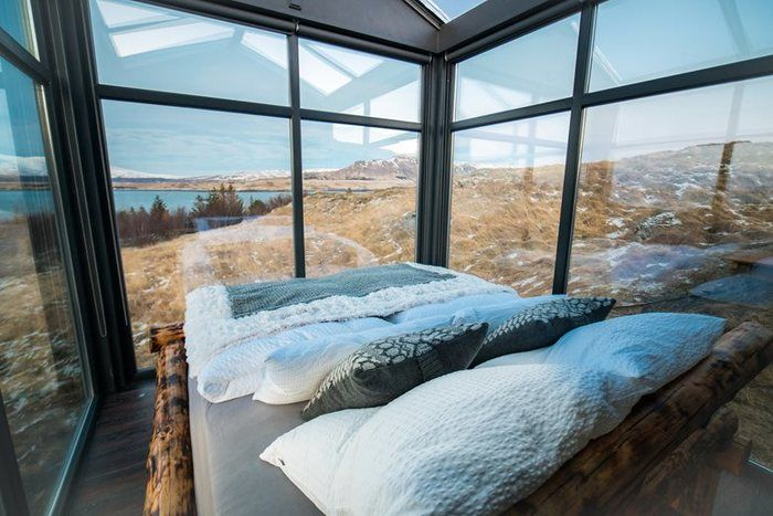 panorama glass lodge cabin 1 - A glass ceiling lets you sleep under the Northern lights in this Icelandic tiny house