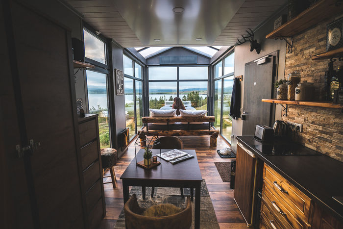 panorama glass lodge cabin 11 - A glass ceiling lets you sleep under the Northern lights in this Icelandic tiny house