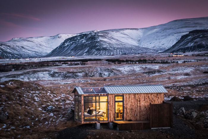 panorama glass lodge cabin 3 - A glass ceiling lets you sleep under the Northern lights in this Icelandic tiny house