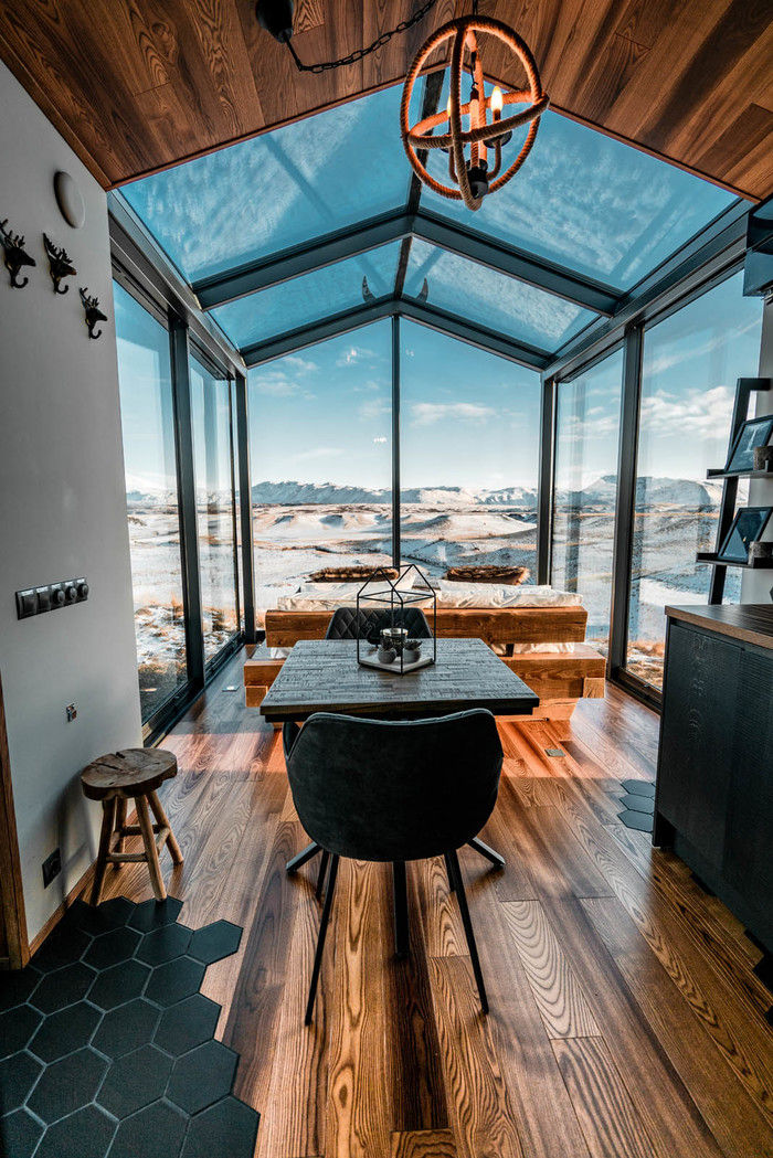 panorama glass lodge cabin 5 - A glass ceiling lets you sleep under the Northern lights in this Icelandic tiny house