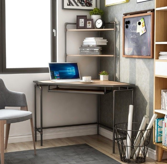 Furniture of America Ajax Industrial Corner Desk with USB Port - 18 fabulous desks that are ideal for small spaces