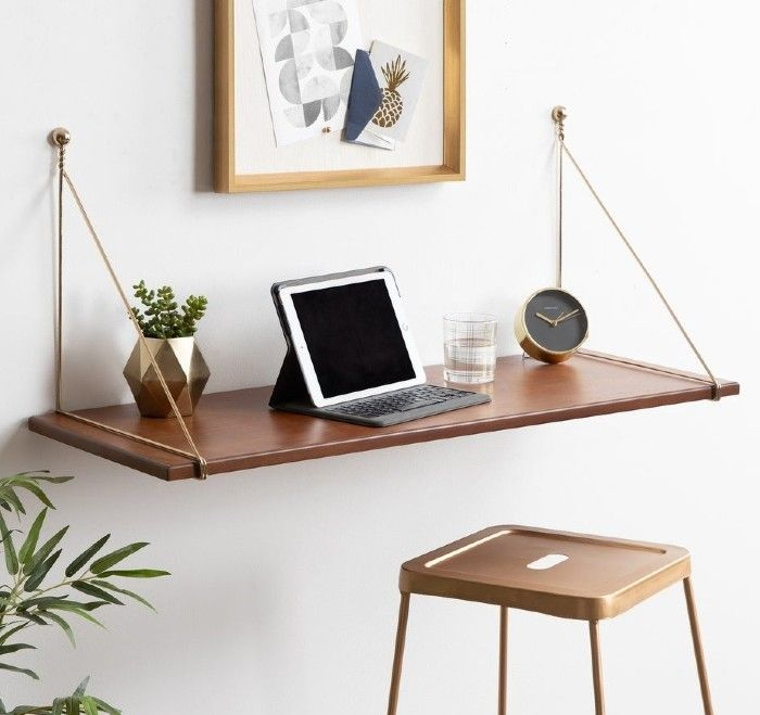 Kate and Laurel Vista Wall Mounted Wooden Desk Shelf aeabad25 50d2 47aa b988 95acbdd780e6 1000 - 18 fabulous desks that are ideal for small spaces