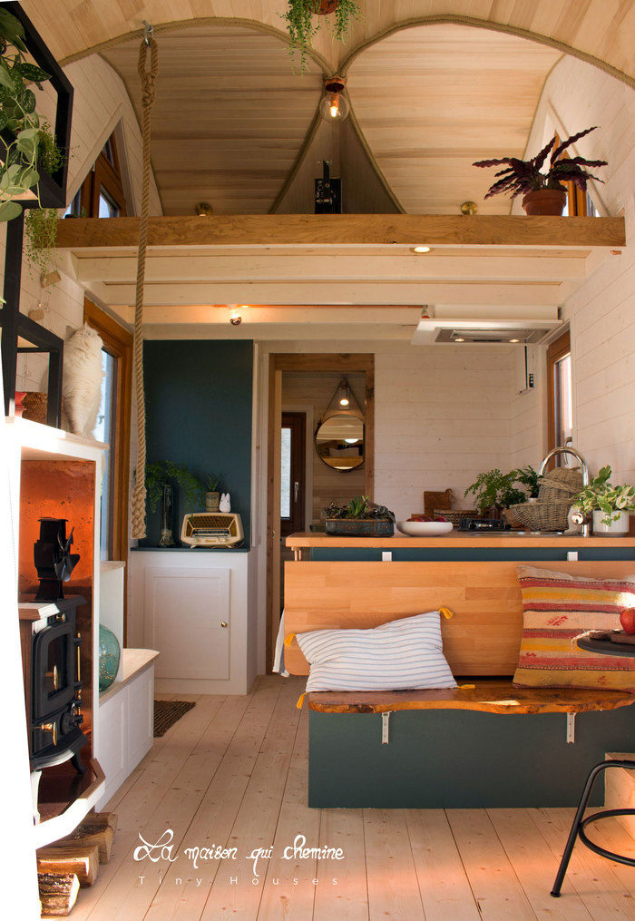 la flore tiny house 2 - Cottage feel tiny house boasts a creative staircase that leads up to two lofts