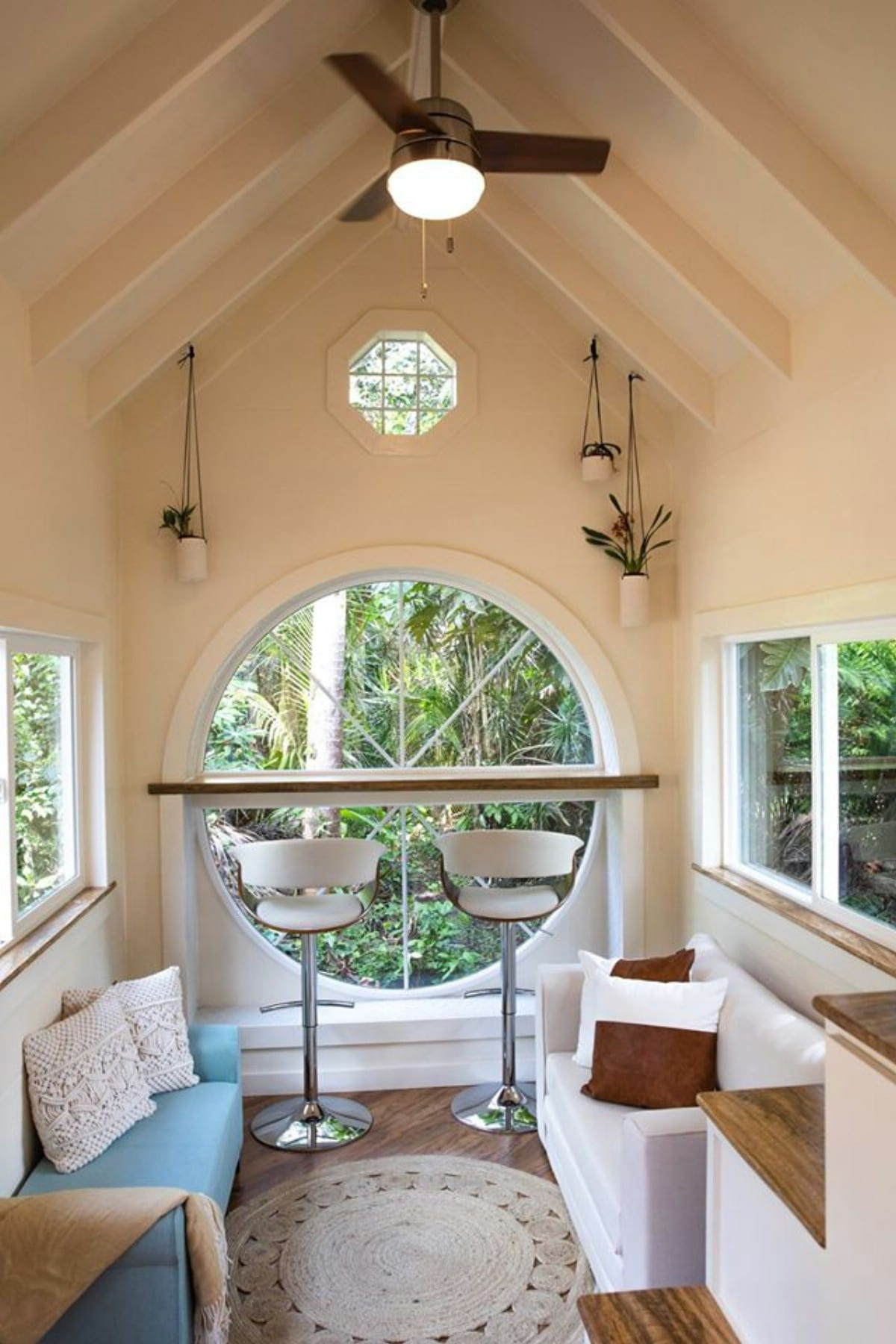 oasis tiny house 11 - Hawaiian tiny house is stacked with space-saving solutions including a shower jutting out over the trailer's tongue