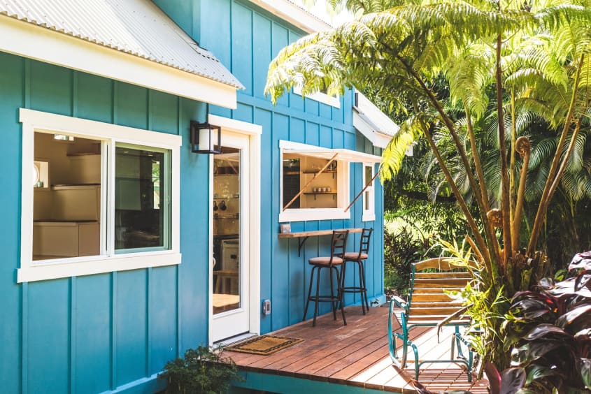 oasis tiny house 7 - Hawaiian tiny house is stacked with space-saving solutions including a shower jutting out over the trailer's tongue