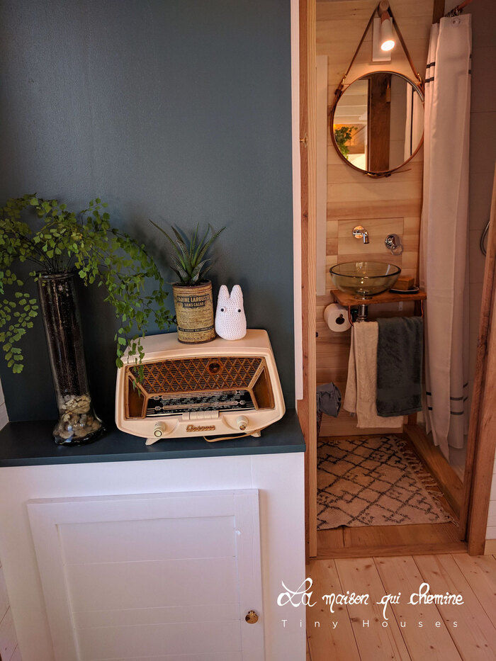 tiny house flore - Cottage feel tiny house boasts a creative staircase that leads up to two lofts