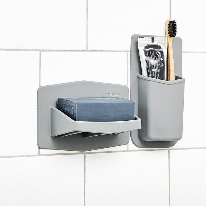 10079614 Tooletries Soap Holder Grey - 22 fabulous ideas for organizing your small bathroom