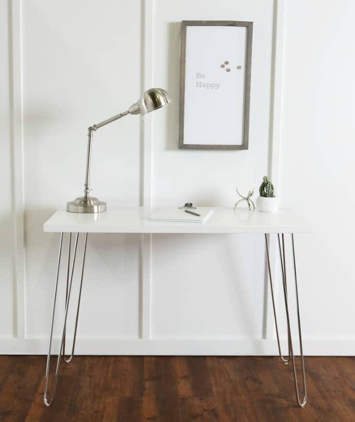 Carson Carrington Skara 42 inch White Hairpin Leg Wood Writing Desk - 20 stylish desk ideas for small spaces