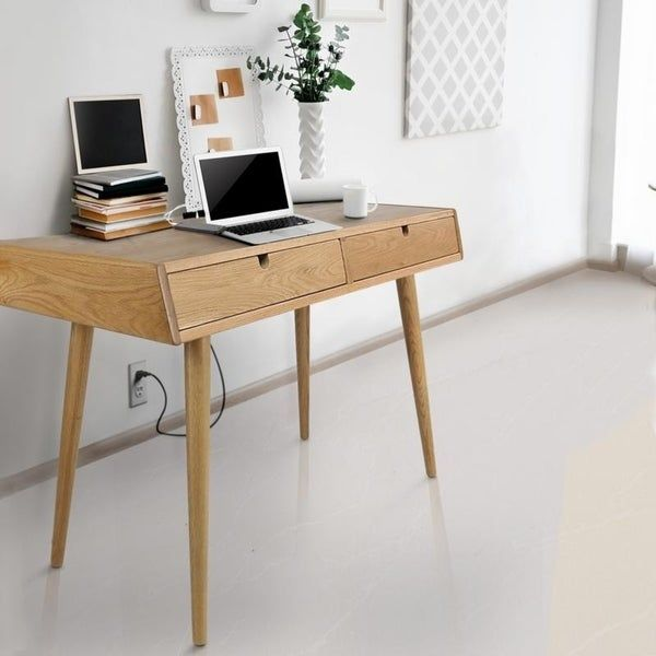 Freedom Desk with USB Ports Made of Solid American Oak 17229630 de06 4ac5 bffc 3d878856e592 600 - 20 stylish desk ideas for small spaces