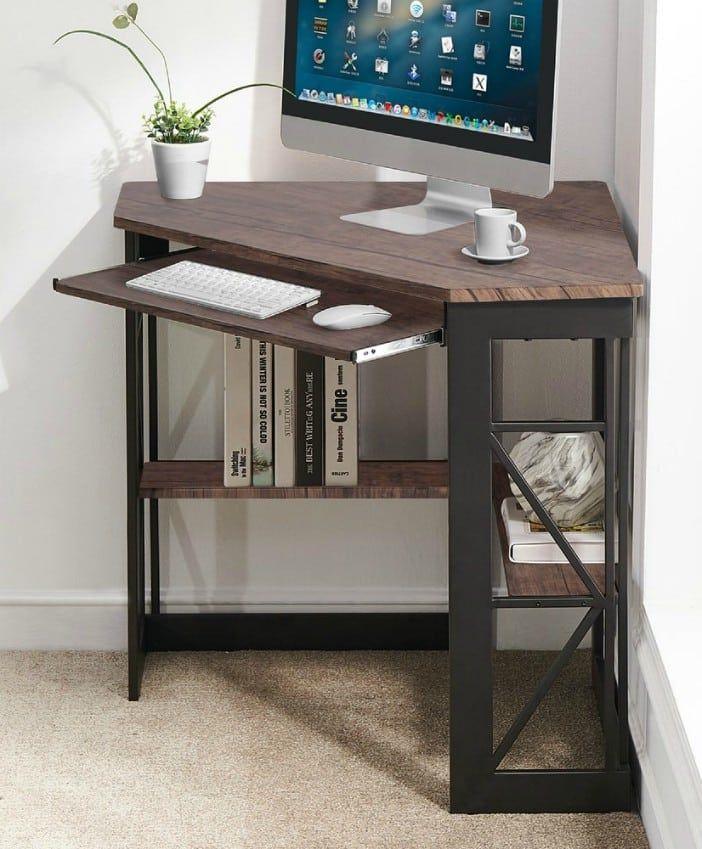 VECELO Corner Office Desk L shaped Computer Gaming Laptop Corner Office Desk Natural - 20 stylish desk ideas for small spaces