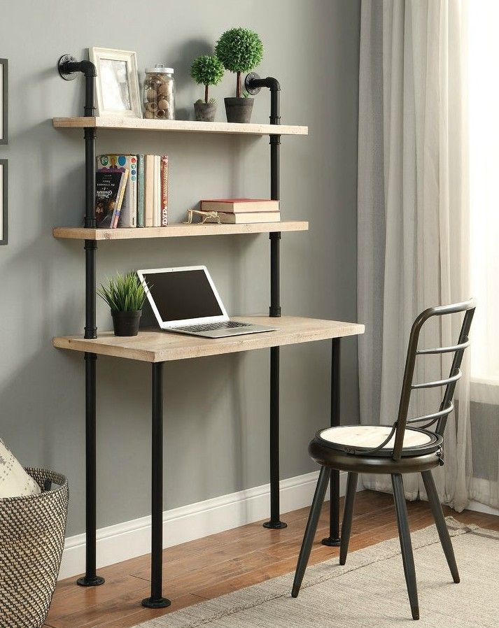 Wall Bookcase and Desk - 20 stylish desk ideas for small spaces