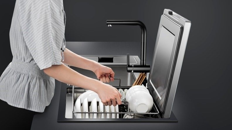 dishwasher - Space-saving in-sink dishwasher does double duty as produce cleaner