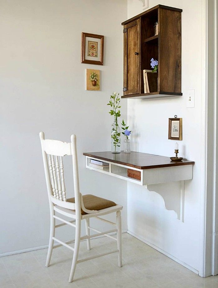 floating wood desk - 20 stylish desk ideas for small spaces
