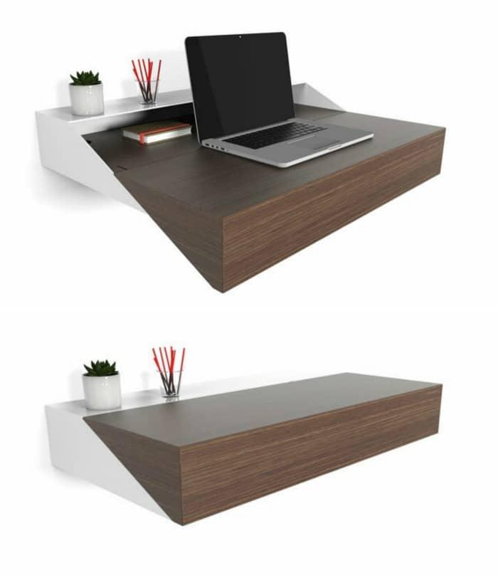 folding wall desk hideaway - 20 stylish desk ideas for small spaces