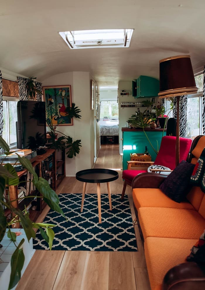skoolie little life 2 - Australian couple convert old city bus into colourful motorhome