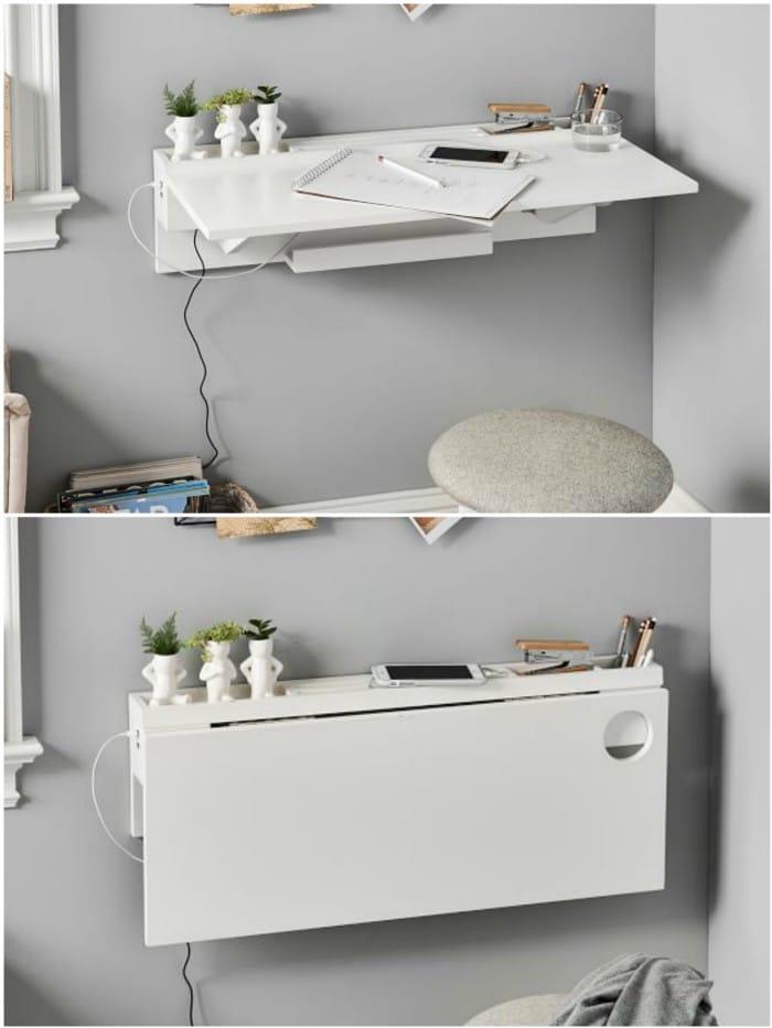 white folding desk - 20 stylish desk ideas for small spaces