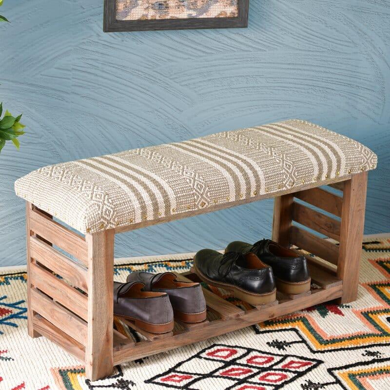 AmberlyUpholsteredShoeStorageBench - 20 clever shoe storage ideas for clutter-free living