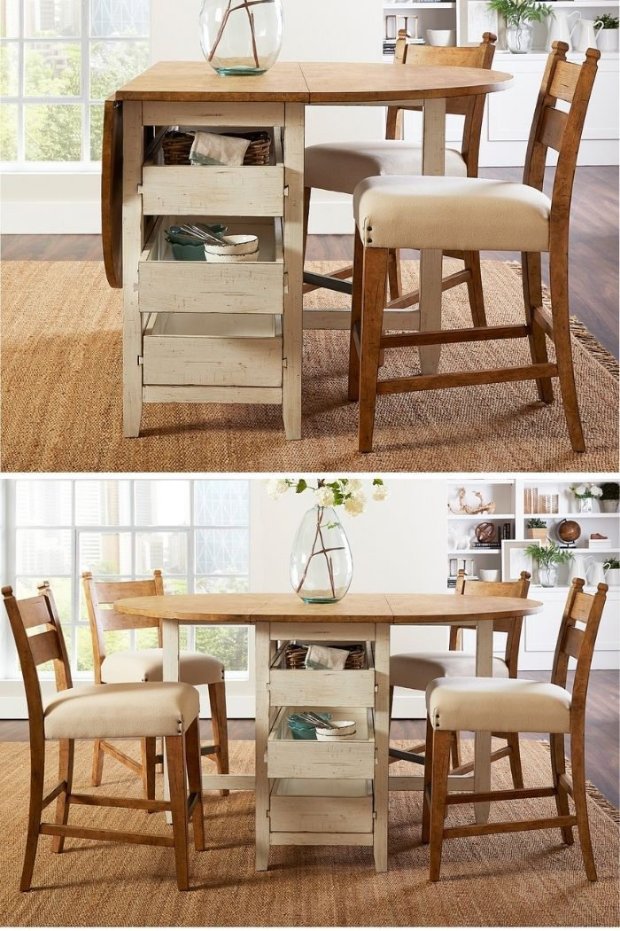 drop leaf dining table - 27 amazing dining table ideas for small spaces