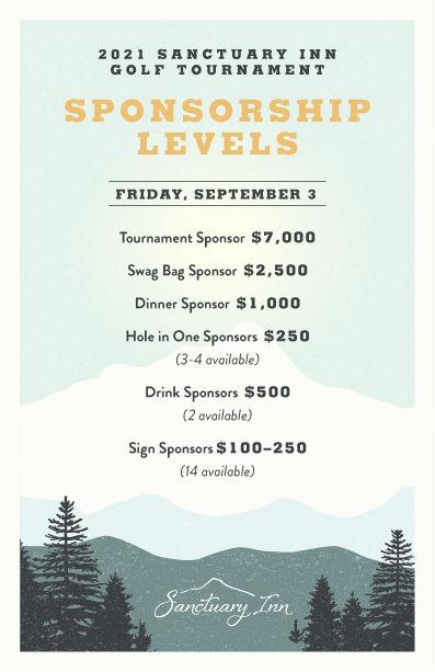 2021 Sanctuary Inn Golf Tournament Sponsorship Levels