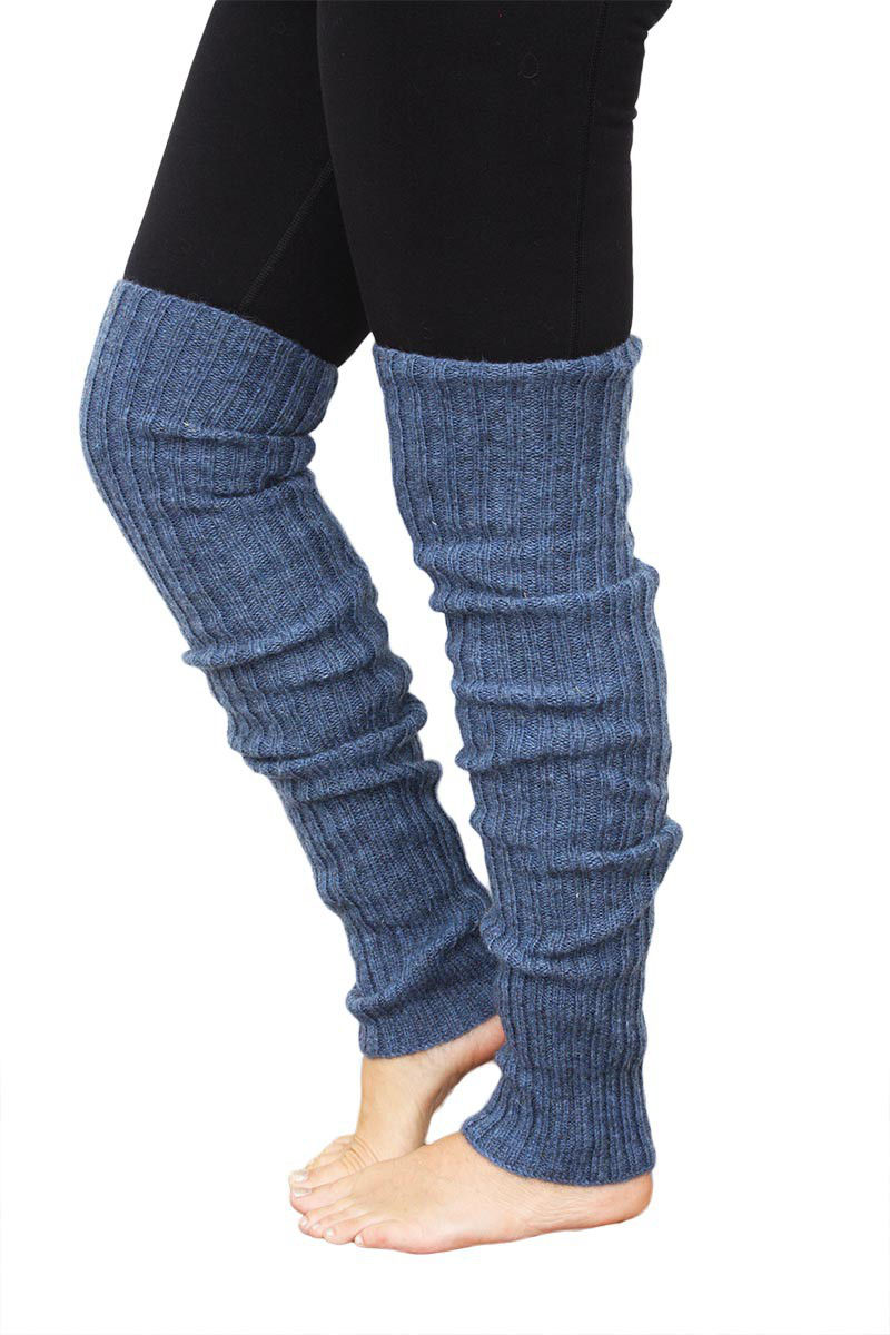 Leg warmers wool blue