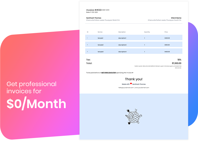 Get professional invoices for $0/Month