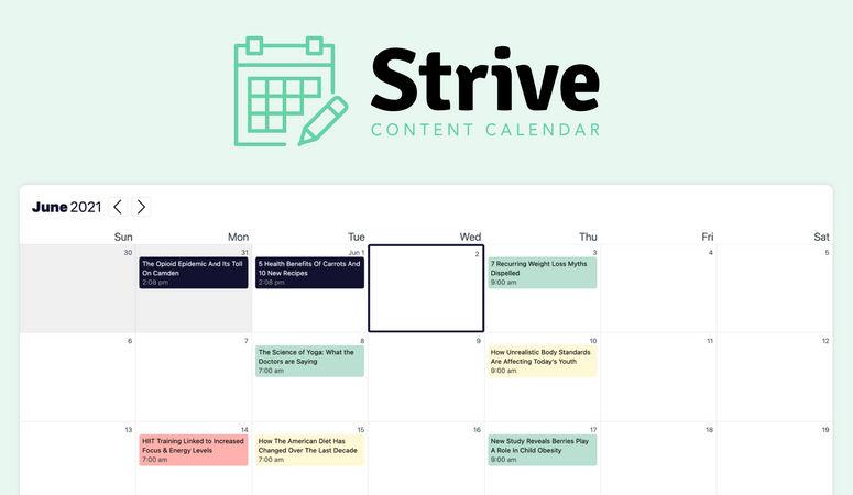 Strive Content Calendar