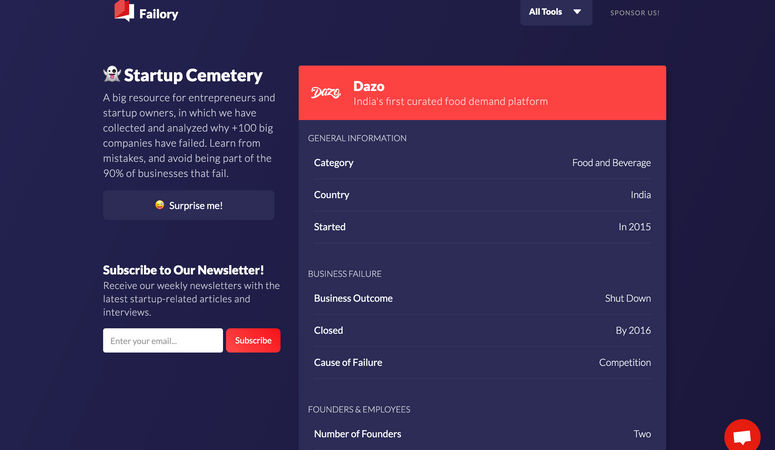 Startup Cemetery