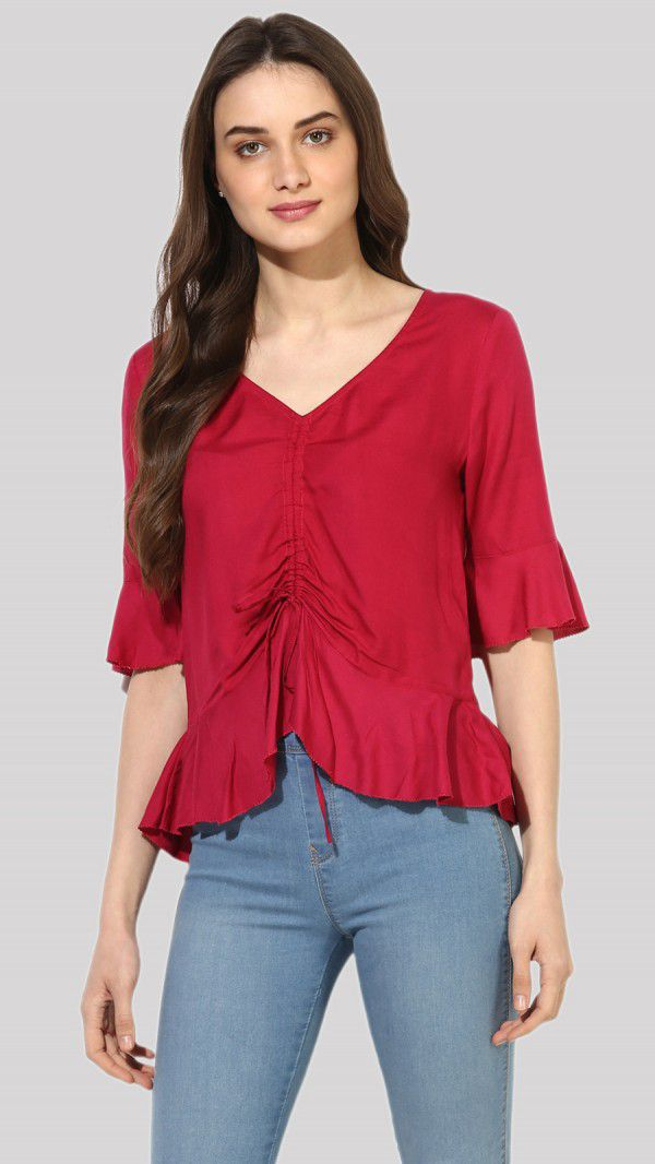 SbuyS  - Ruched Peplum Blouse