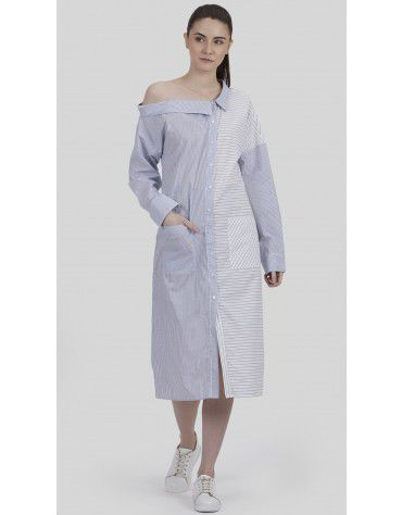 SbuyS - One Shoulder Off Stripe Shirt Dress