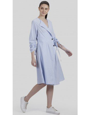 SbuyS - Ruched Sleeve Striper Midi Dress