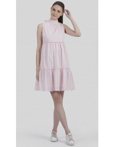 SbuyS - Schiffli Back Tie Up Tiered Dress