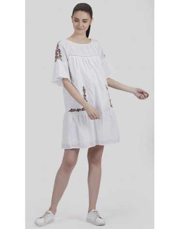 SbuyS - Floral Embroidered Peasant Dress