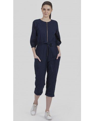 SbuyS - Schiffli Front Zip Up Jumpsuit