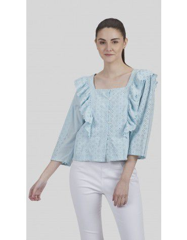 SbuyS - Button Down Schiffli Ruffle Sleeve Blouse