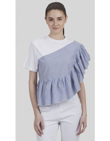 SbuyS - Stripe Ruffle Blouse