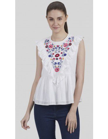 SbuyS - Floral Embroidered Sleeveless Blouse
