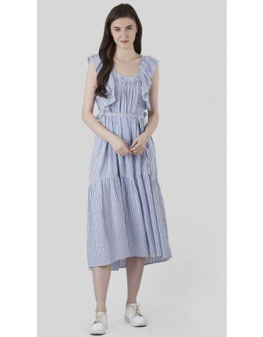 SbuyS - Ruffle Stripe Tiered Maxi Dress